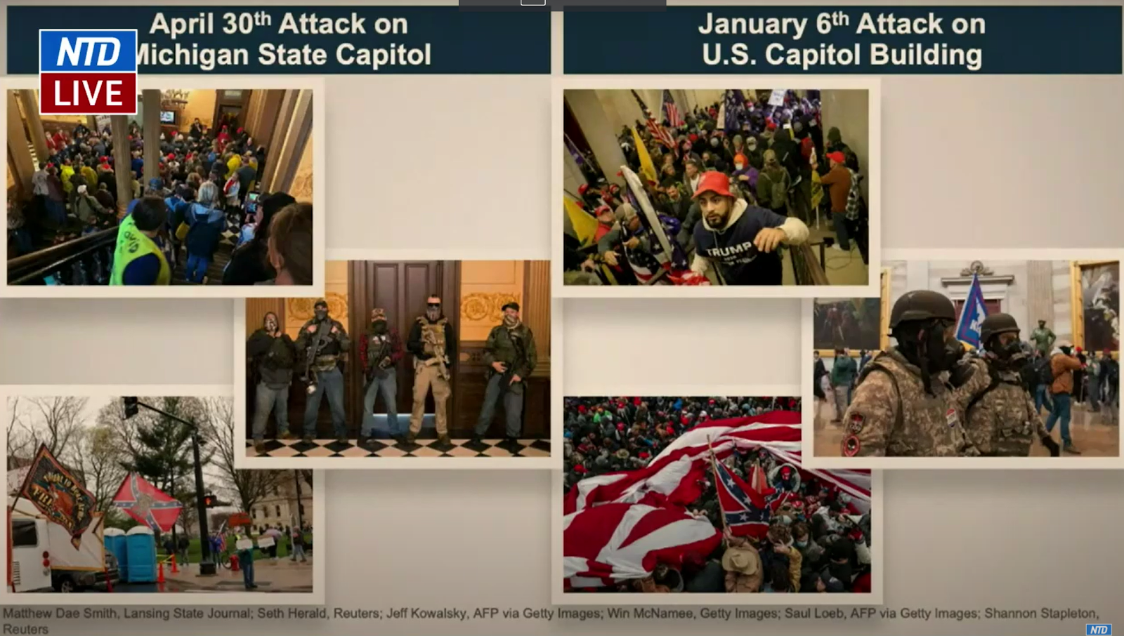 Screenshot of Rep. Jamie Raskin's (D-MD) early presentation on Feb. 11. Raskin pinned the blame on the April 30, 2020 entry of the Michigan State Capitol in response to Governor Gretchen Whitmer's novel coronavirus lockdown restrictions on President Trump.