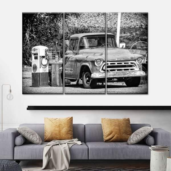 Old Chevrolet Gas Station Multi Panel Canvas Wall Art