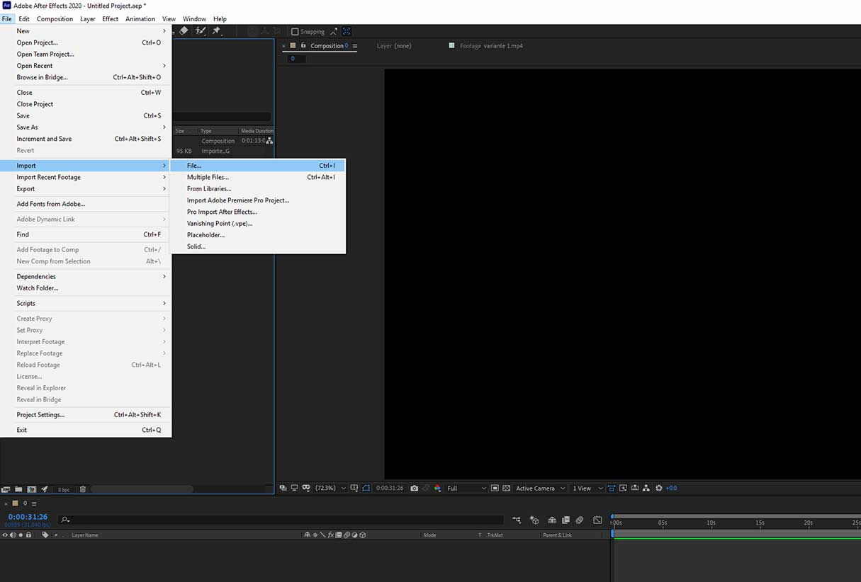 Importing a file in After Effects