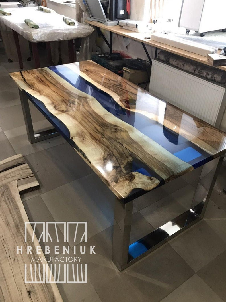 Epoxy Resin Dining Table, Large kitchen table with river table top