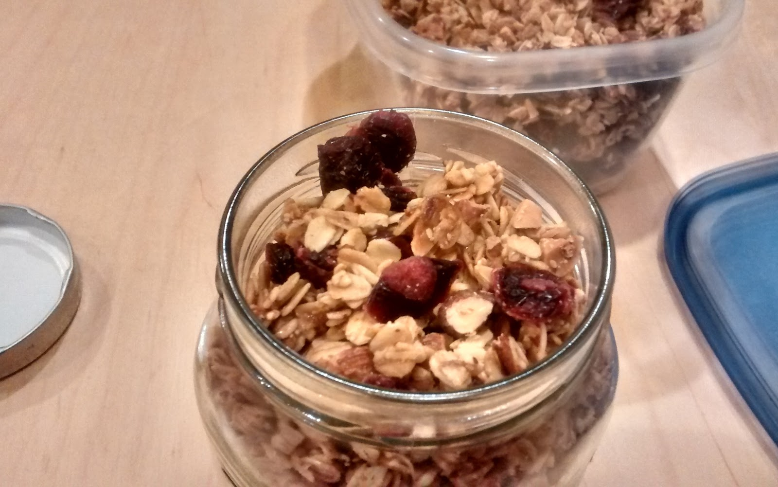 clumpalicious almond granola in a jar