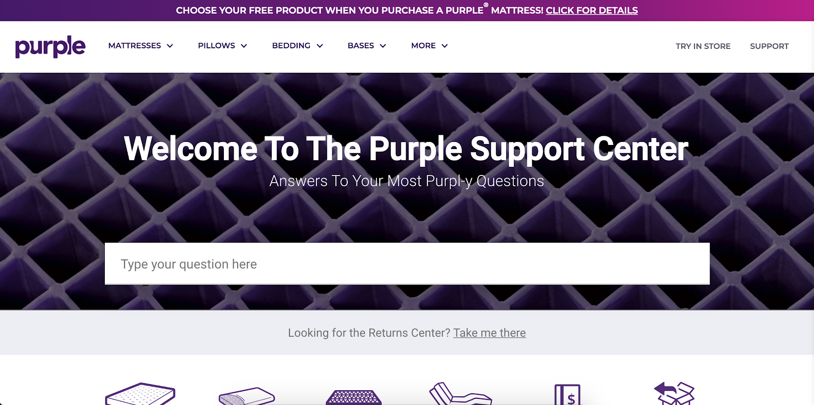 Purple Customer Journey Support Page | Customer Service Philosophy