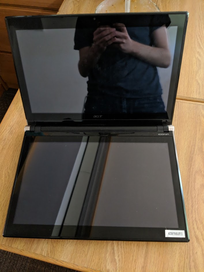 Dual-touchscreen laptop. The second screen replaces the keyboard.