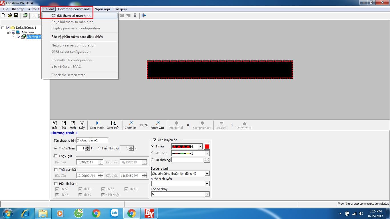 Giao diện làm việc của phần mềm LedshowTW 2014 - linh kiện điện tử Vietnic