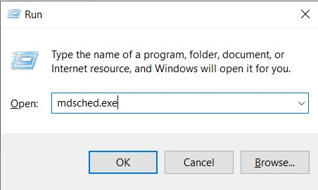 Run tool with the mdsched.exe command