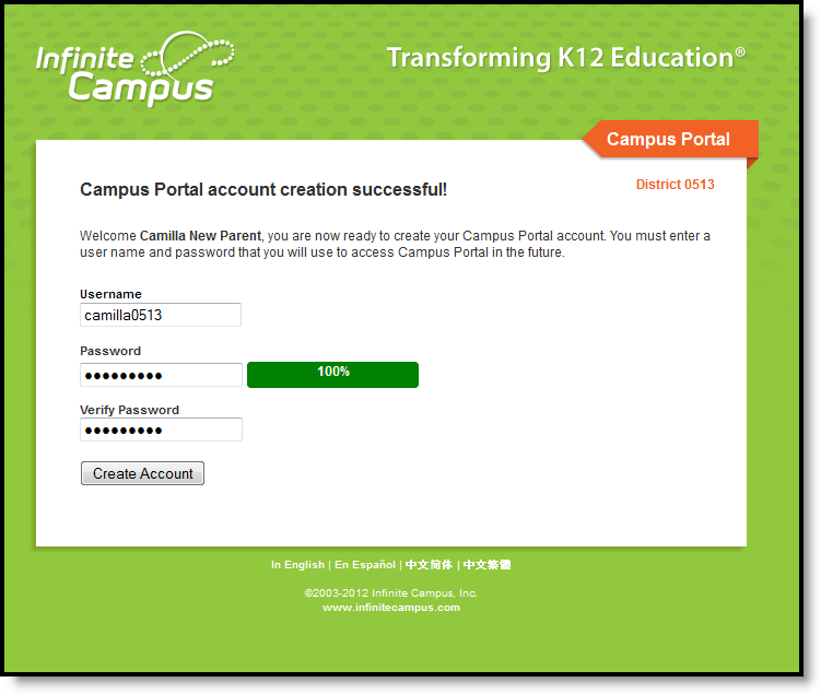 Image of Username and Password Creation Screen for Infinite Campus