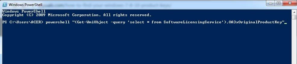 Windows 7 PowerShell Command