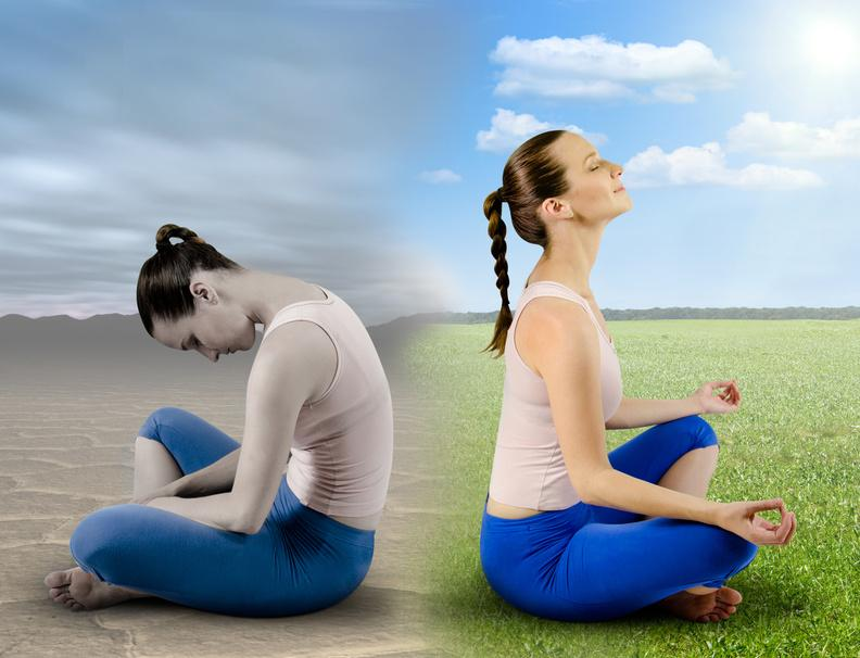 woman on left sad in stuck during meditation versus woman on right who is happy during meditation