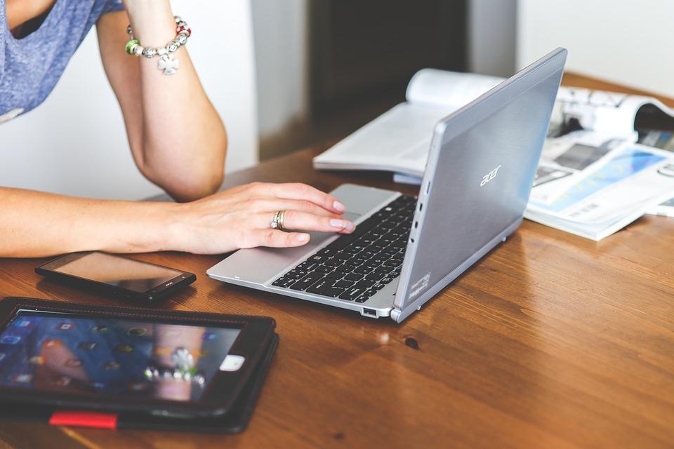 技術, ラップトップ, キーボード, コンピュータ, ネットブック, カエデ, 女性, 女の子, ビジネス