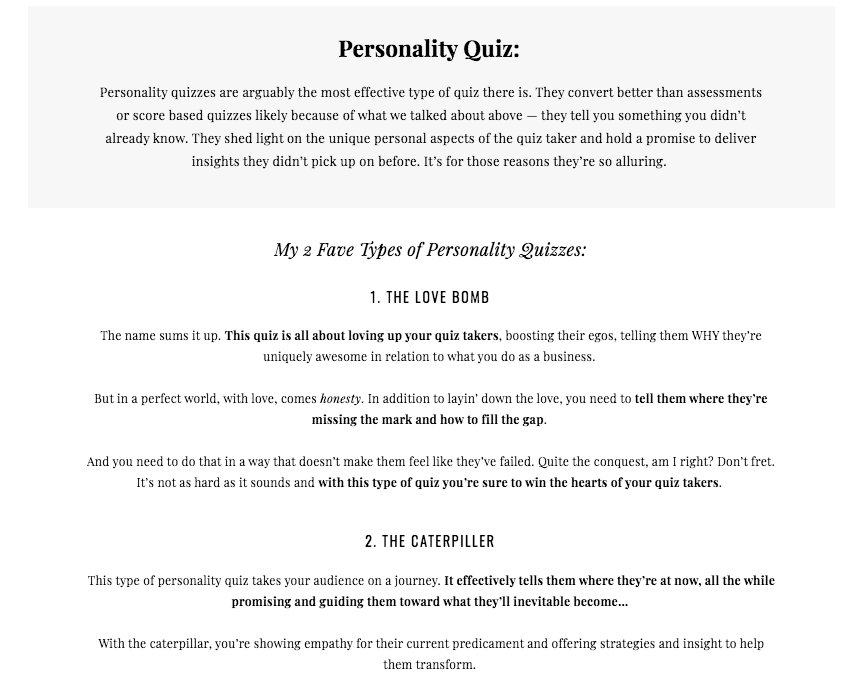 personality quiz results page