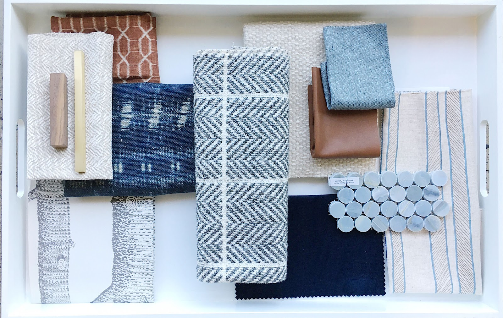 Calgary interior designer leanne bunnell explains how the process works, mood board, materials, concept in blues and browns