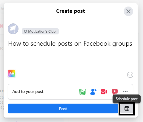 How to schedule posts on Facebook groups natively - add description