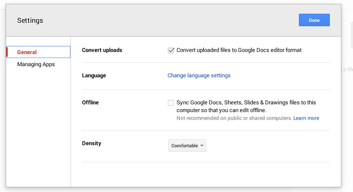 Google Drive Settings