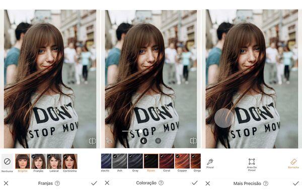 Montagem de fotos de uma mulher de cabelo liso sendo editada pelo AirBrush