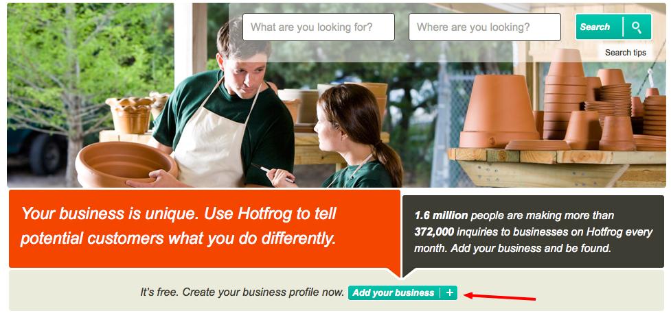 hotfrog add a business