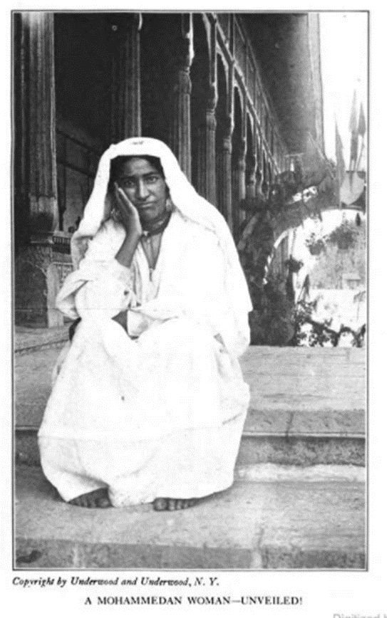 "Photo of the ""A Mohammedan Woman—Unveiled!"" pictured in the 1918 United Study text Western Workers of the Orient"