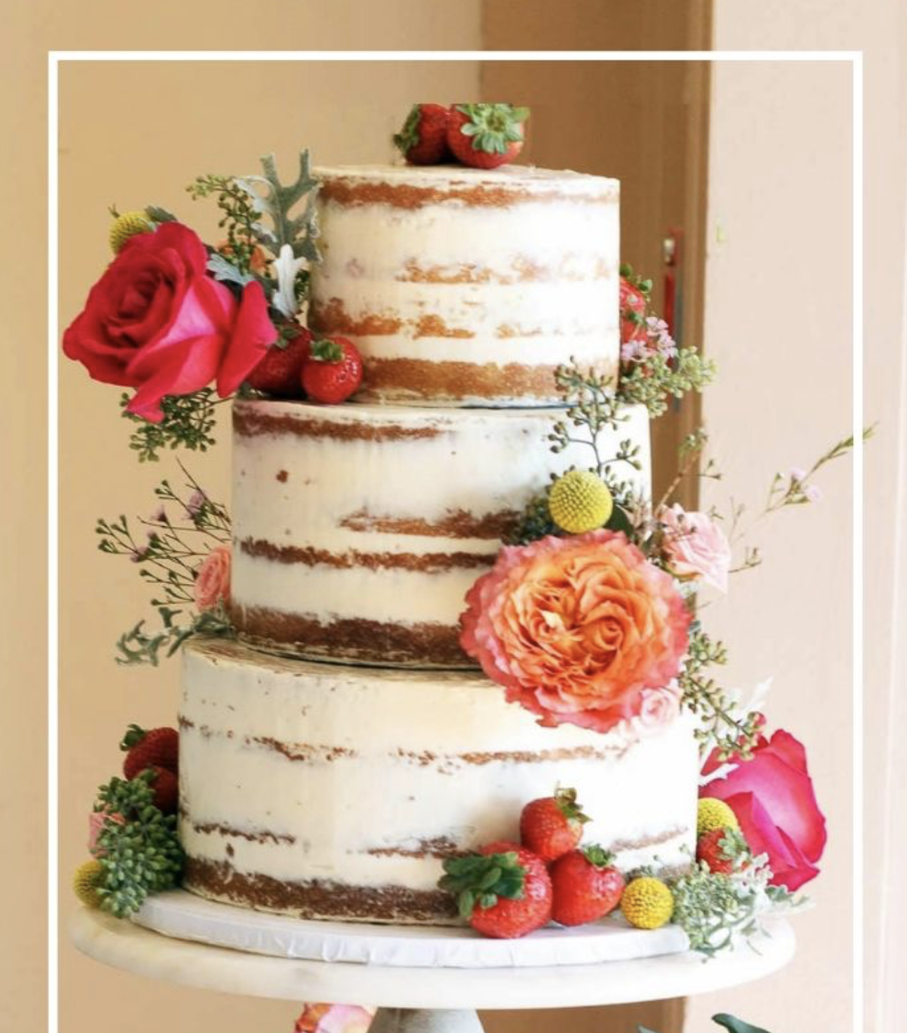 fruits and florals on cake