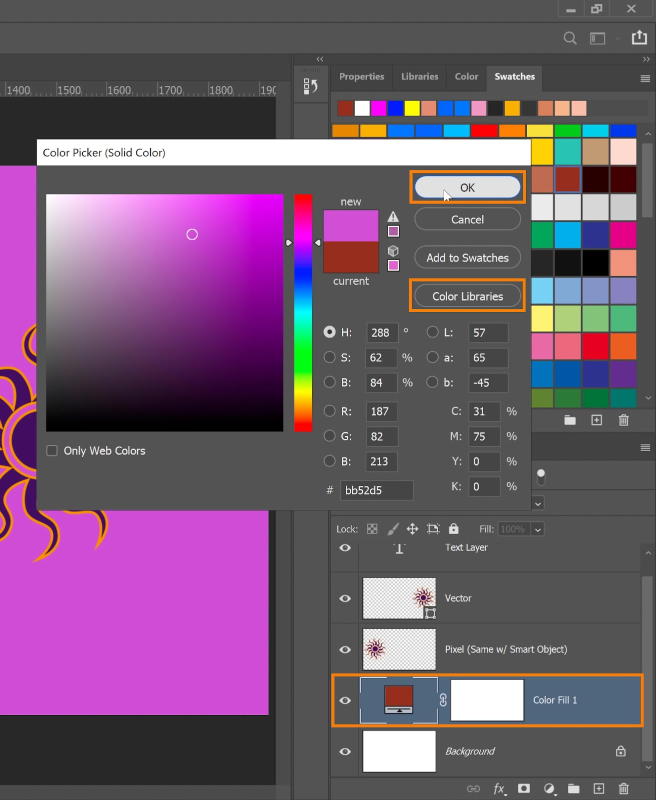 Select a color in the Color Picker window and press OK