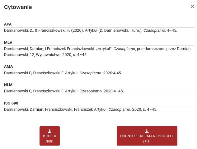 Lista cytowań publikacji  w pięciu formatach: APA, MLA, AMA, NLM oraz w ramach normy ISO 690. Poniżej dwa przyciski pobierania dla formatów bib oraz ris.