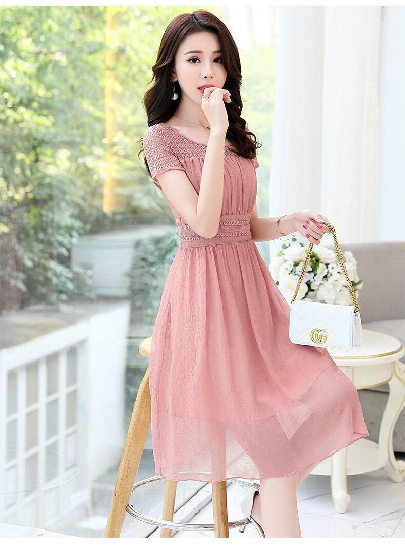Đầm xòe cổ vuông tay con HN599