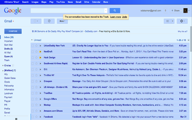 Gmail Blue April Fool's Joke Screenshot