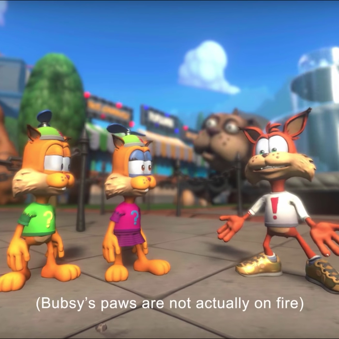 Image result for bubsy paws on fire""