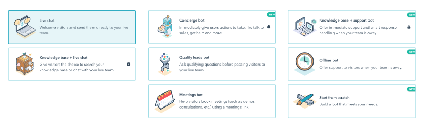 HubSpot offers several different types of chatbots including a live chat bot, a book-a-meetings bot, and a lead-qualify bot