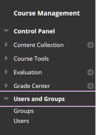 Screenshot of Users and Groups menu.