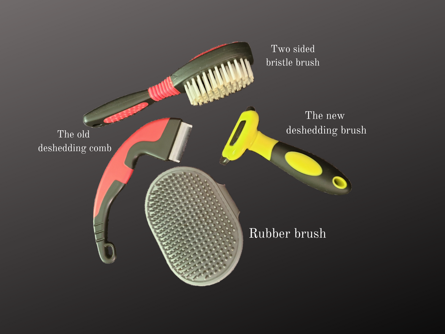 Picture showing the different type of brushes that we have for Ziggy