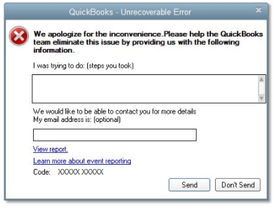 Quickbooks - Unrecoverable Error - We apologize for the inconvenience
