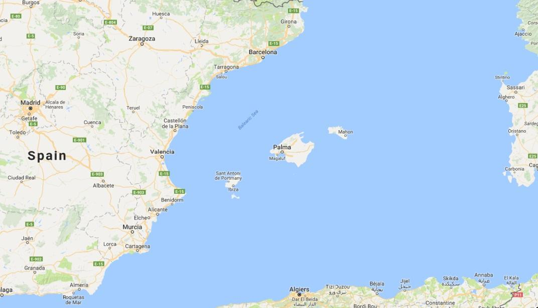 South Coast Of Spain Map.The Balearic Islands