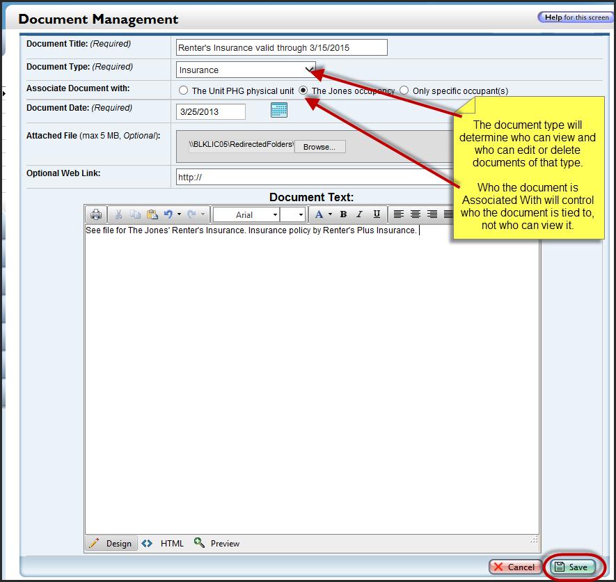 Unit documents buildinglink help site for Documents 5 help