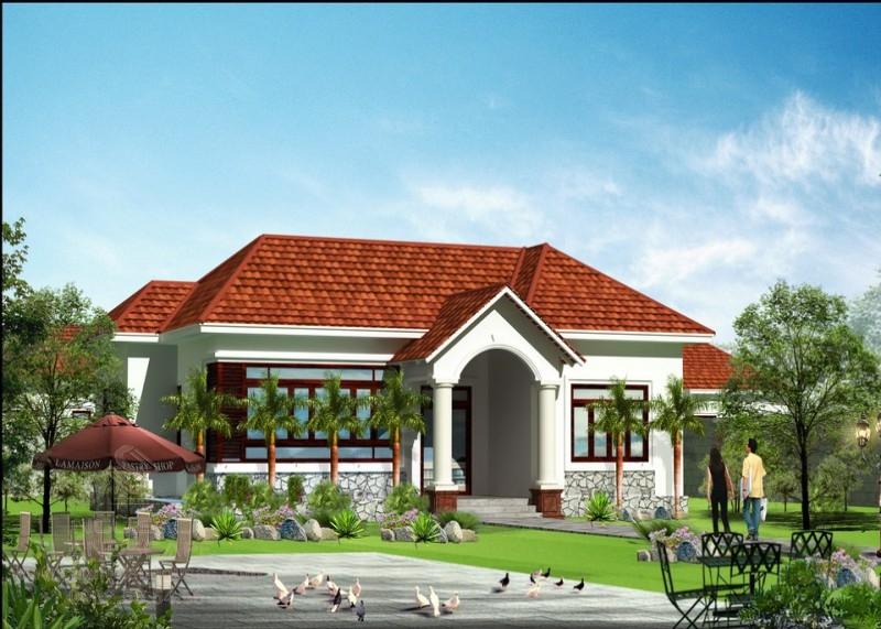 Thiết kế nhà vườn cấp 4 tân cổ mái ngói