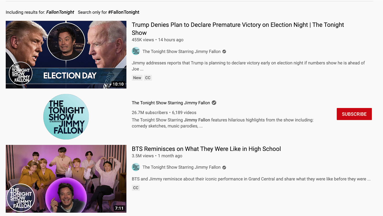 "Clicking on ""#FallonTonight"" will take a viewer to the search results screen where they can browse more videos and posts around the subject."