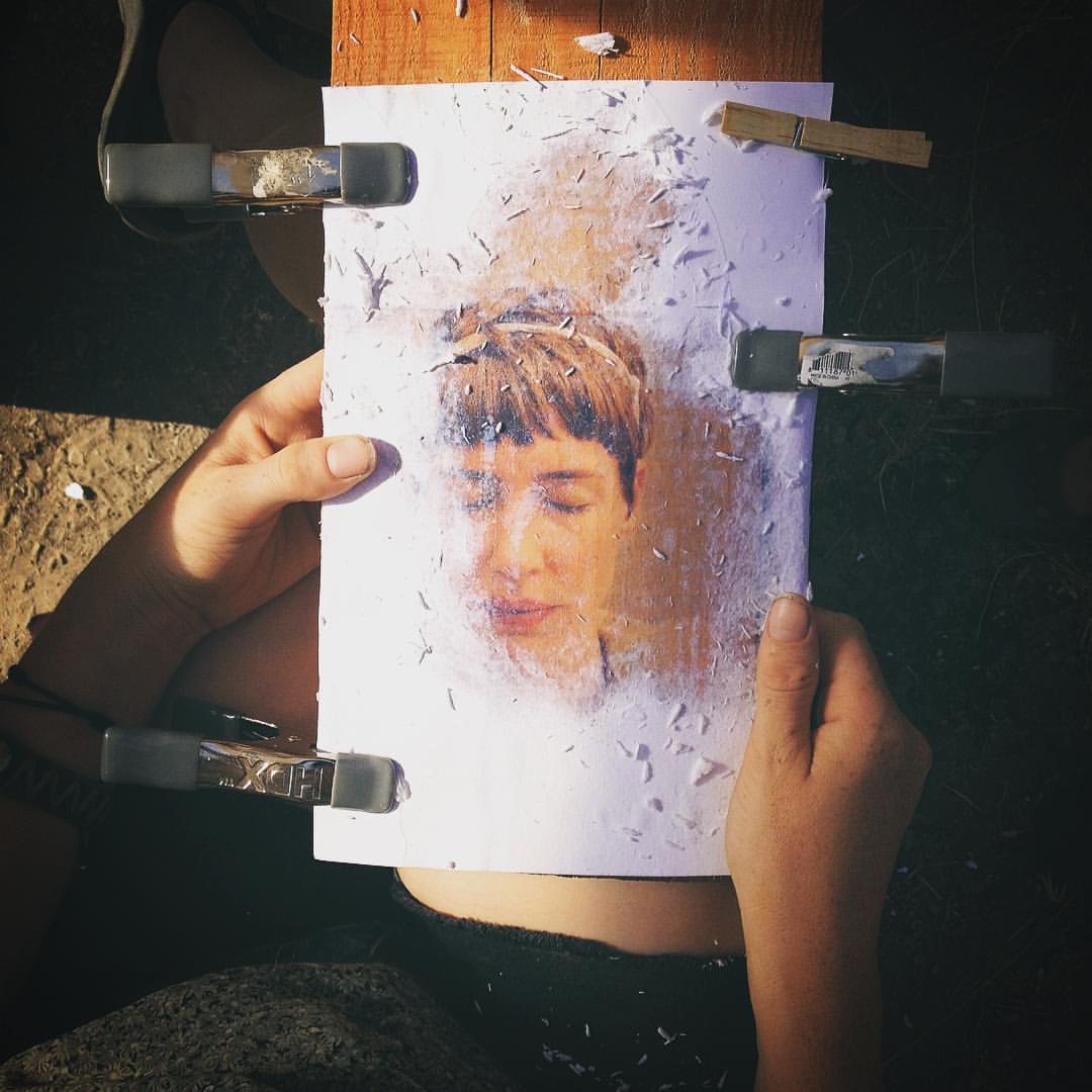 Lookout Art Quarry's Artist-in-residence Rachael Gillespie, developed a series of photo transfers to found wooden scraps and hosted an art gallery during Sh'bang. Portrait of Heather Dawn Sparks. Photo of a photo by oneirical.