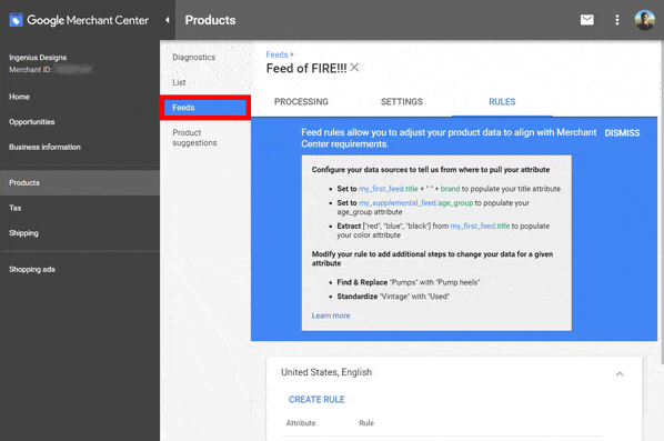 Multiple product feeds in Google Merchant Center