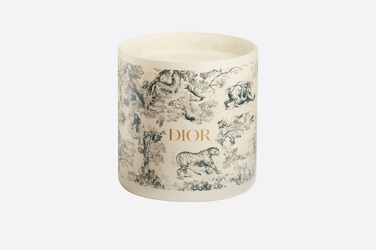 8.DIOR LARGE CANDLE Green Toile de Jouy
