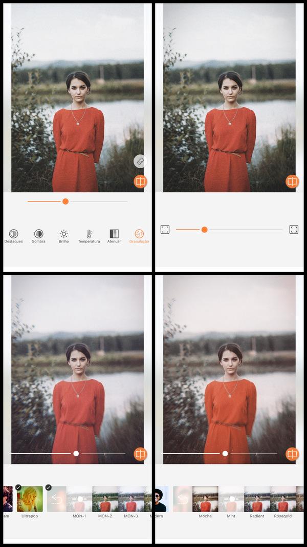 Tutorial de edição de uma mulher usando um vestido vermelho em frente ao lago usando as ferramentas do AirBrush