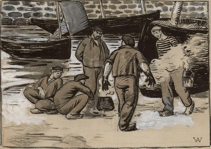 Henri Amédée-Wetter (Montluçon, 1869 ; Paris, 1929) Le Calfatage des bateaux dans le port, 1920 Encre, aquarelle et gouache, monogrammée, 19 x 27 cm Coll. Musée de Pont-Aven, inv. 2001.15.1 © Musée de Pont-Aven
