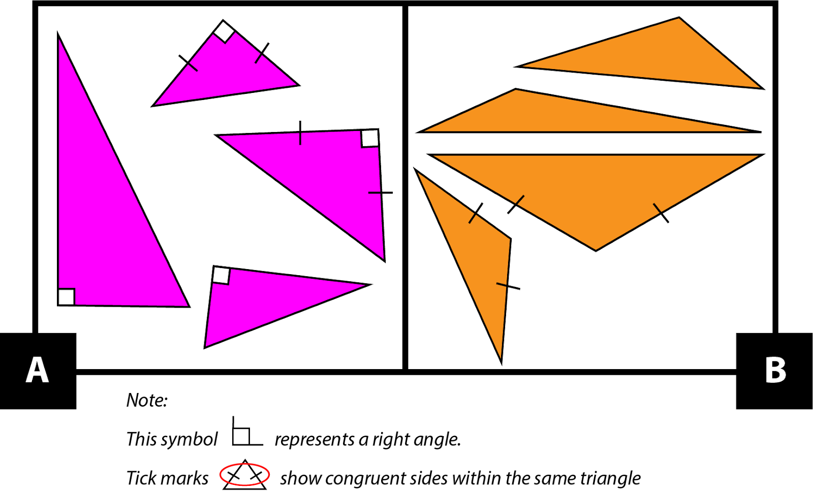 A: Four right triangles. 2 of the triangles have 2 congruent sides and 2 do not. B: Four obtuse triangles. 2 of the triangles have 2 congruent sides and 2 do not.