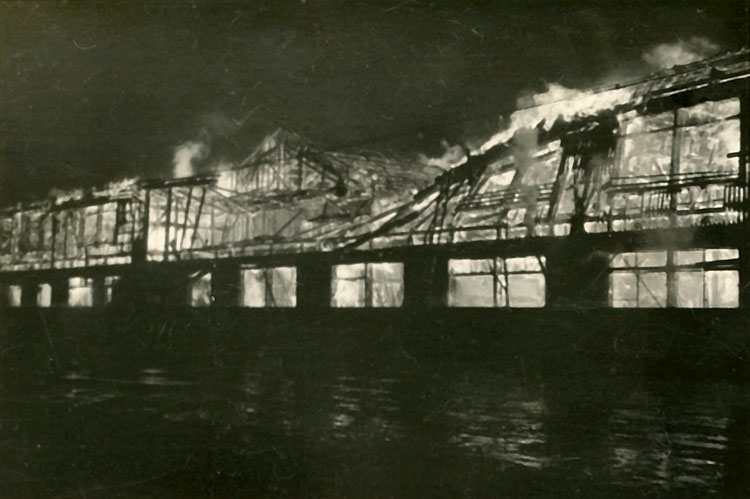 Del's photo of burning barracks, Niigato, Japan, Dec. 1945