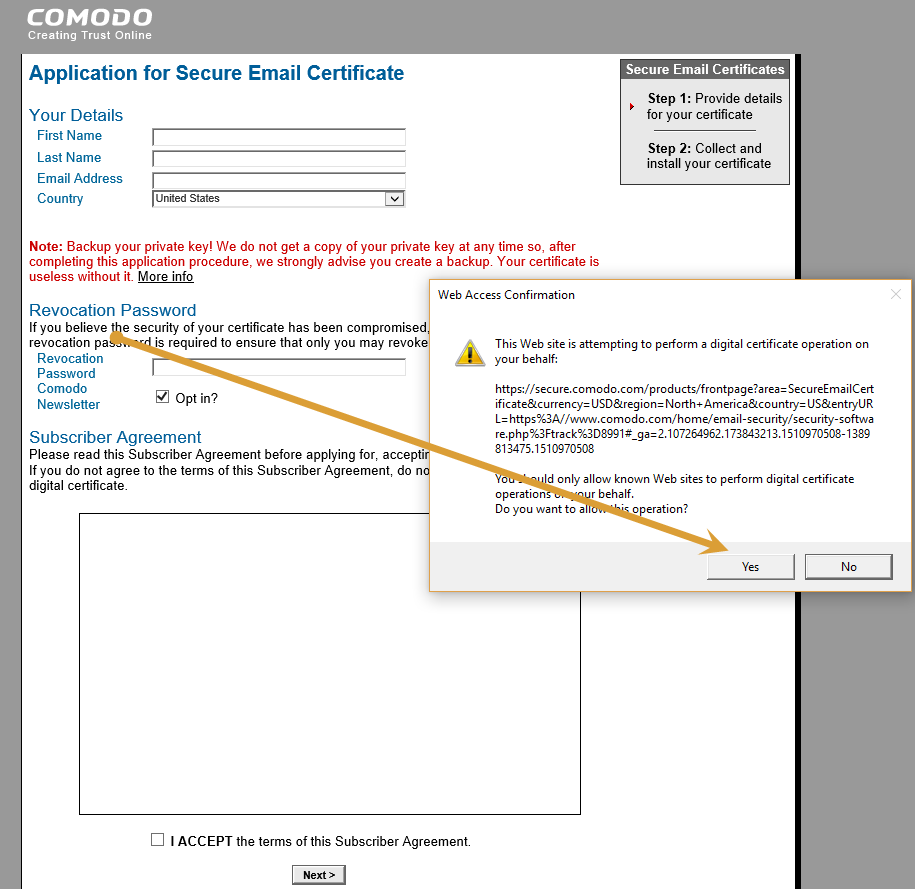 comodo free email certificate outlook 2016