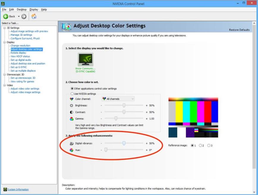 NVIDA Control Panel Screenshot for Digital Vibrance setting