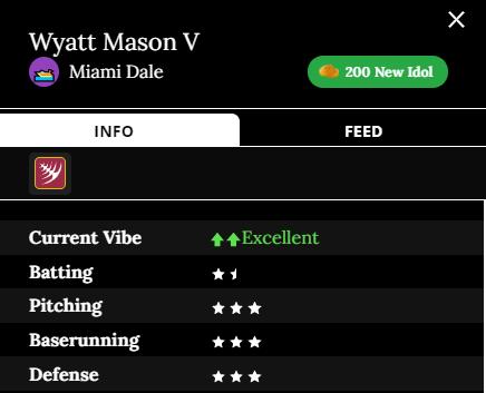 Wyatt Mason V Team: Miami Dalé Current Vibe: Excellent Batting: 1.5 stars Pitching: 3 stars Baserunning: 3 stars Defense: 3 stars