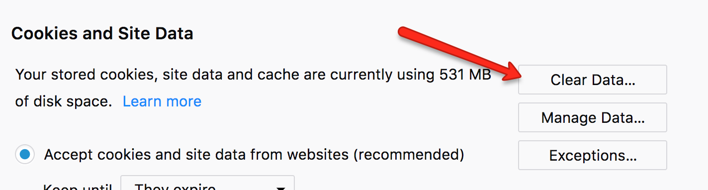 New Firefox Clear Browsing Cache Options
