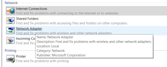 The Network Adapter troubleshooting option