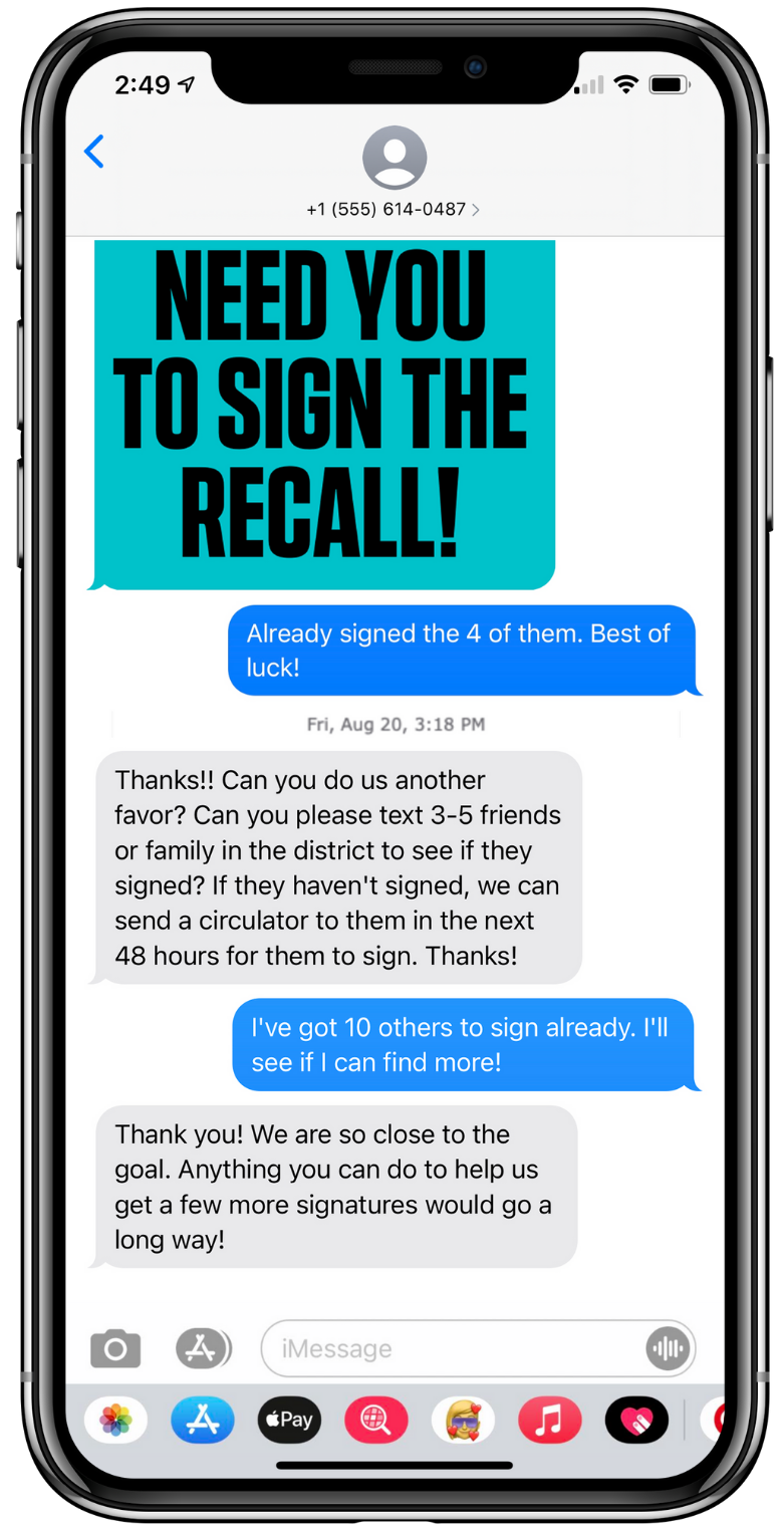 Real Text Message Example For P2P Advocacy Texting