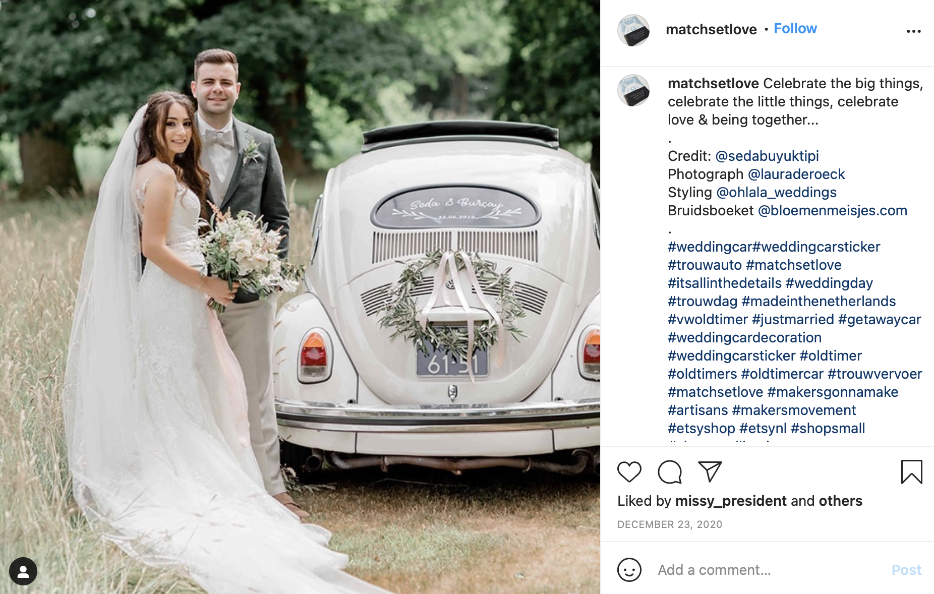 window decal wedding car