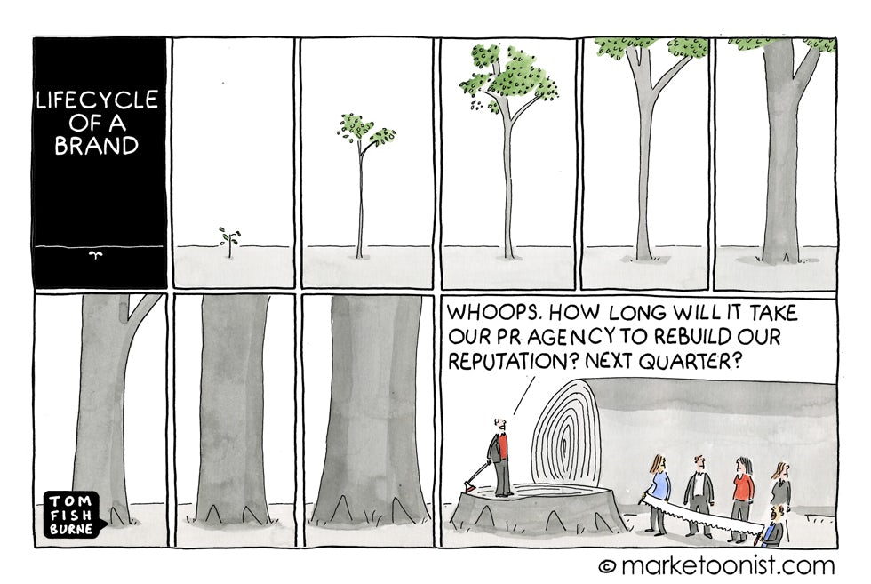brand reputation cartoon from Marketoonist discussing the life cycle of a brand
