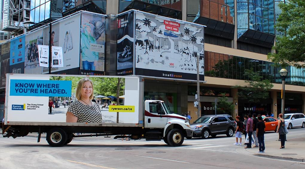"""Truck-side ad by Ryerson University with the text """"Know where you're headed."""""""